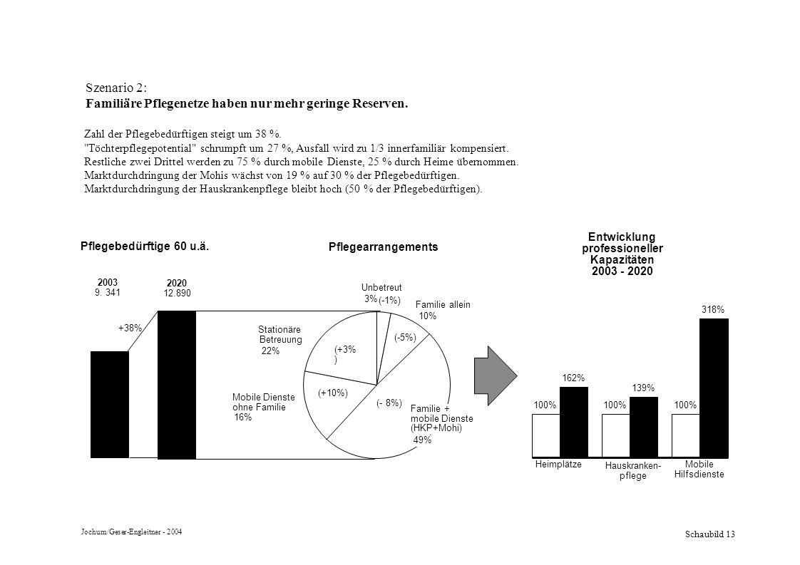 Schaubild 13 Szenario 2: Familiäre Pflegenetze haben nur mehr geringe Reserven. Zahl der Pflegebedürftigen steigt um 38 %.