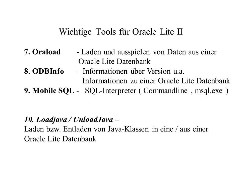 Erstellen einer Demo-Datenbank CREATEDB DataSourceName DatabaseName [[[VolID] DATABASE_SIZE] EXTENT_SIZE] [collation sequence] Beispiel : createdb POLite POLite.odb german