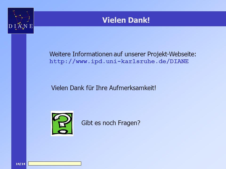 14/14 Vielen Dank! Weitere Informationen auf unserer Projekt-Webseite: http://www.ipd.uni-karlsruhe.de/DIANE Gibt es noch Fragen? Vielen Dank für Ihre