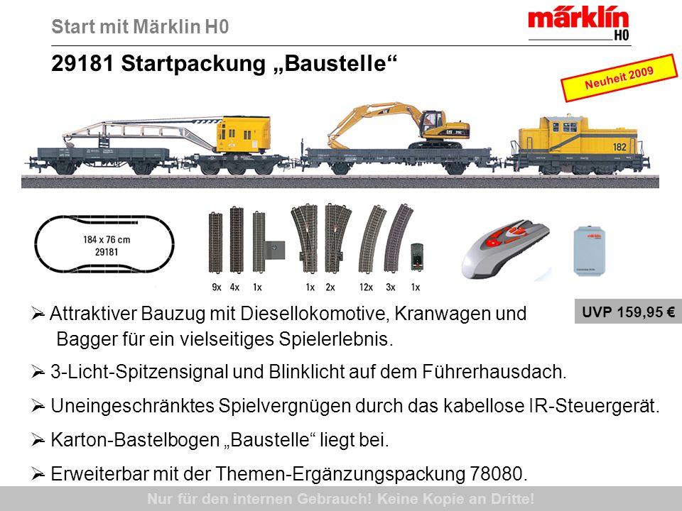 29181 Startpackung Baustelle Nur für den internen Gebrauch! Keine Kopie an Dritte! Start mit Märklin H0 - Attraktiver Bauzug mit Diesellokomotive, Kra