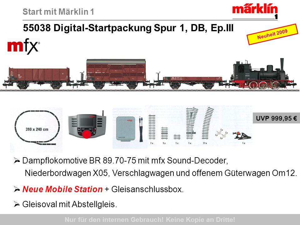 55038 Digital-Startpackung Spur 1, DB, Ep.III - Dampflokomotive BR 89.70-75 mit mfx Sound-Decoder, Niederbordwagen X05, Verschlagwagen und offenem Güt