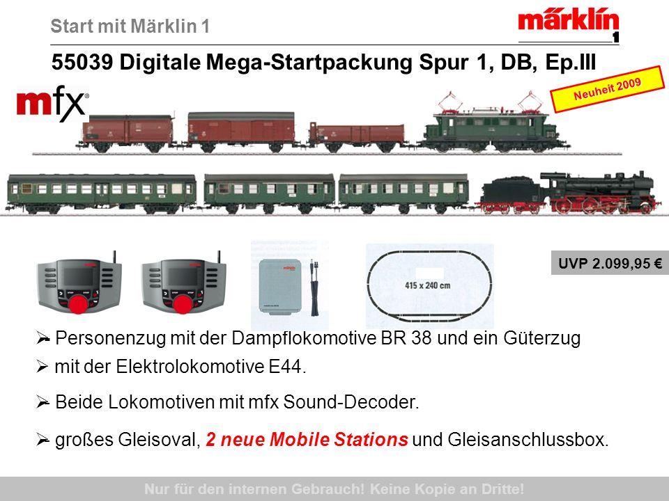 55039 Digitale Mega-Startpackung Spur 1, DB, Ep.III - Personenzug mit der Dampflokomotive BR 38 und ein Güterzug mit der Elektrolokomotive E44. - Beid