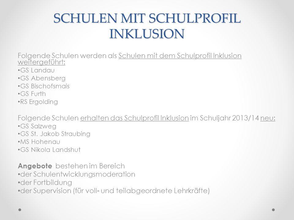 SCHULEN MIT SCHULPROFIL INKLUSION Folgende Schulen werden als Schulen mit dem Schulprofil Inklusion weitergeführt: GS Landau GS Abensberg GS Bischofsm