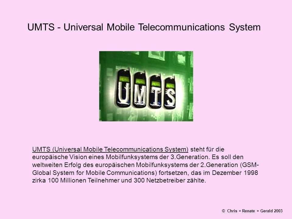 UMTS - Universal Mobile Telecommunications System UMTS (Universal Mobile Telecommunications System) steht für die europäische Vision eines Mobilfunksystems der 3.Generation.