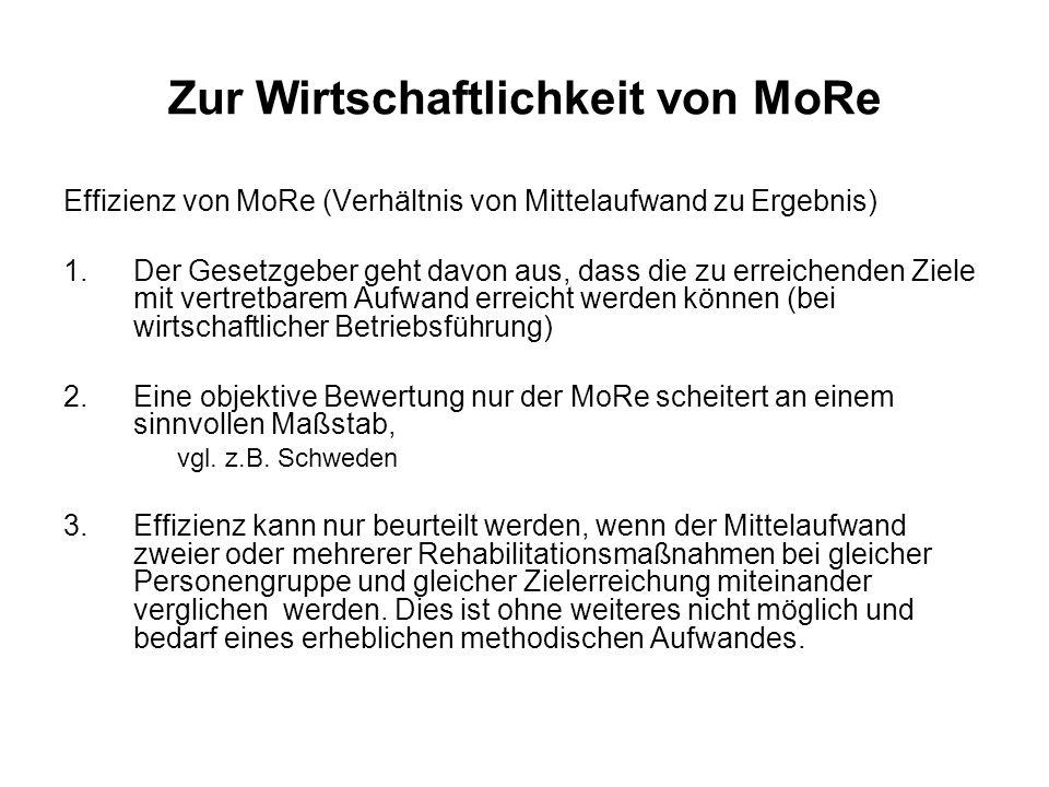 Zur Wirtschaftlichkeit von MoRe Effizienz von MoRe (Verhältnis von Mittelaufwand zu Ergebnis) 1.Der Gesetzgeber geht davon aus, dass die zu erreichend