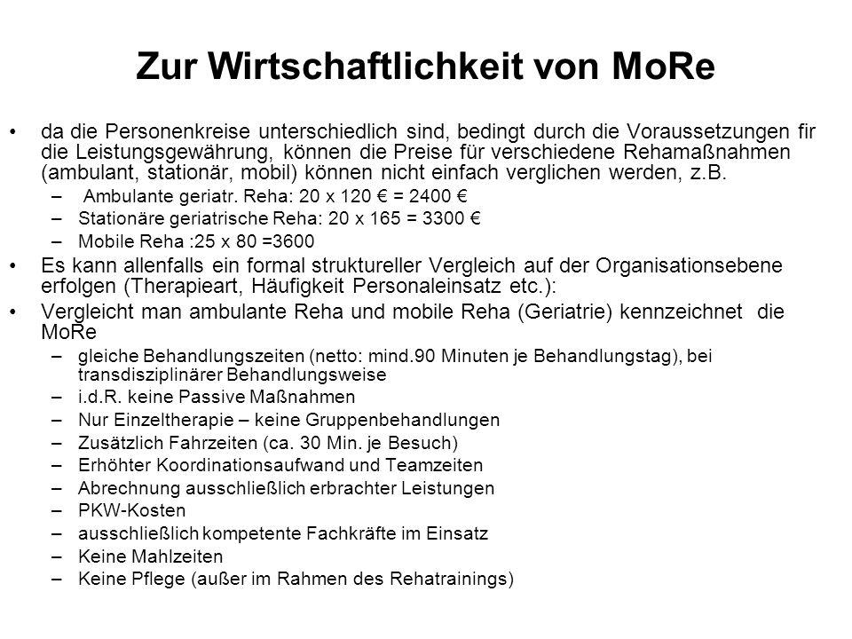 Zur Wirtschaftlichkeit von MoRe da die Personenkreise unterschiedlich sind, bedingt durch die Voraussetzungen fir die Leistungsgewährung, können die P