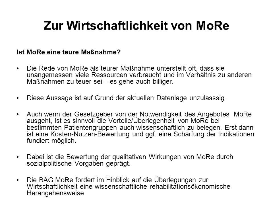 Zur Wirtschaftlichkeit von MoRe Ist MoRe eine teure Maßnahme? Die Rede von MoRe als teurer Maßnahme unterstellt oft, dass sie unangemessen viele Resso