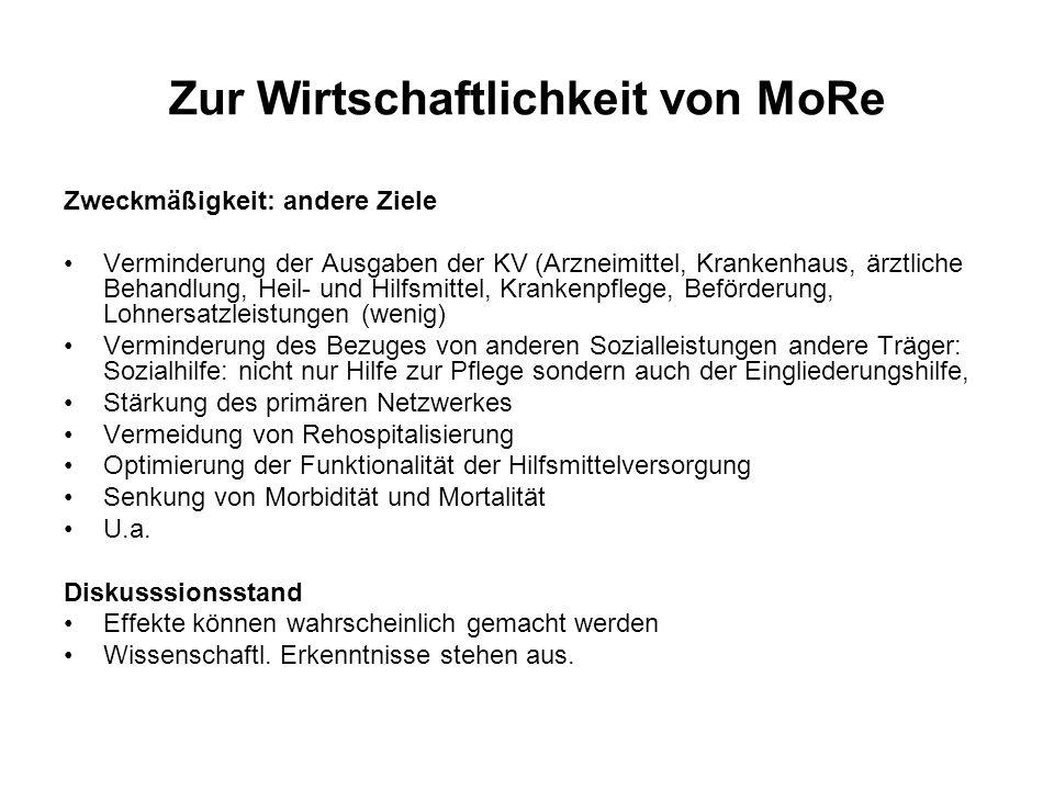 Zur Wirtschaftlichkeit von MoRe Zweckmäßigkeit: andere Ziele Verminderung der Ausgaben der KV (Arzneimittel, Krankenhaus, ärztliche Behandlung, Heil-