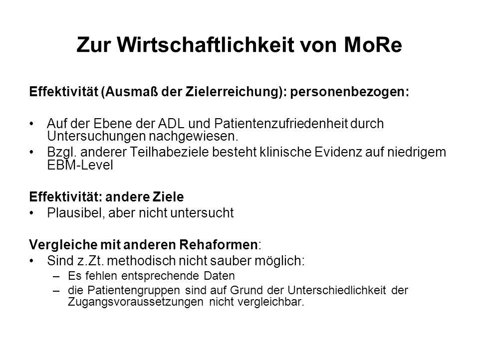 Zur Wirtschaftlichkeit von MoRe Effektivität (Ausmaß der Zielerreichung): personenbezogen: Auf der Ebene der ADL und Patientenzufriedenheit durch Unte