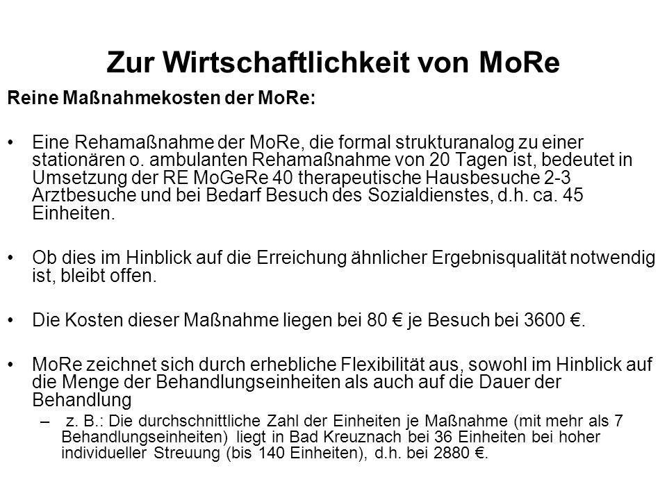 Zur Wirtschaftlichkeit von MoRe Reine Maßnahmekosten der MoRe: Eine Rehamaßnahme der MoRe, die formal strukturanalog zu einer stationären o. ambulante