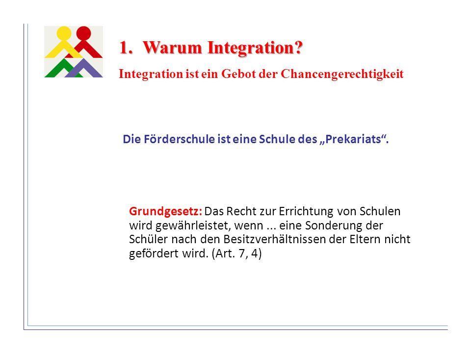 Die Förderschule ist eine Schule des Prekariats. 1.Warum Integration? Integration ist ein Gebot der Chancengerechtigkeit Grundgesetz: Das Recht zur Er