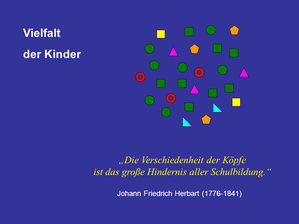 Johann Friedrich Herbart (1776-1841) Vielfalt der Kinder Die Verschiedenheit der Köpfe ist das große Hindernis aller Schulbildung.