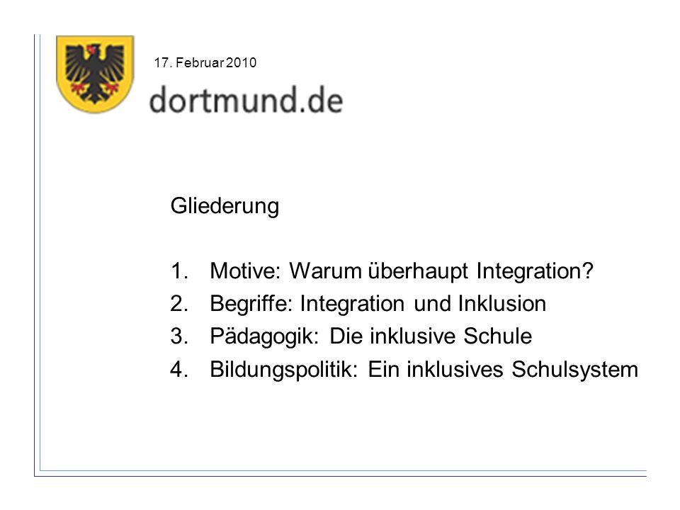 Gliederung 1.Motive: Warum überhaupt Integration? 2.Begriffe: Integration und Inklusion 3.Pädagogik: Die inklusive Schule 4.Bildungspolitik: Ein inklu