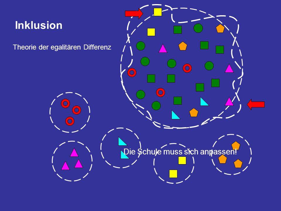 Inklusion Theorie der egalitären Differenz Die Schule muss sich anpassen!