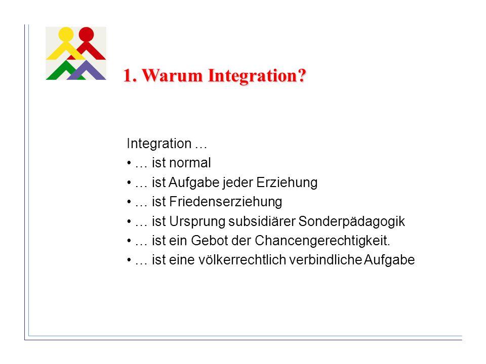 1. Warum Integration? Integration … … ist normal … ist Aufgabe jeder Erziehung … ist Friedenserziehung … ist Ursprung subsidiärer Sonderpädagogik … is