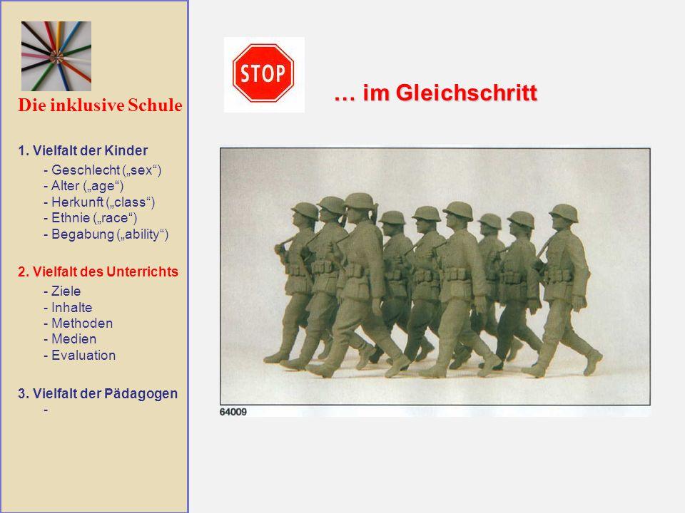 Die inklusive Schule … im Gleichschritt 1. Vielfalt der Kinder - Geschlecht (sex) - Alter (age) - Herkunft (class) - Ethnie (race) - Begabung (ability
