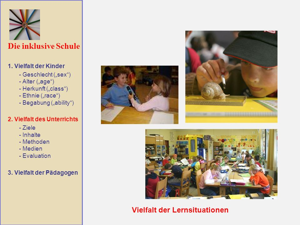 Die inklusive Schule Vielfalt der Lernsituationen 1. Vielfalt der Kinder - Geschlecht (sex) - Alter (age) - Herkunft (class) - Ethnie (race) - Begabun
