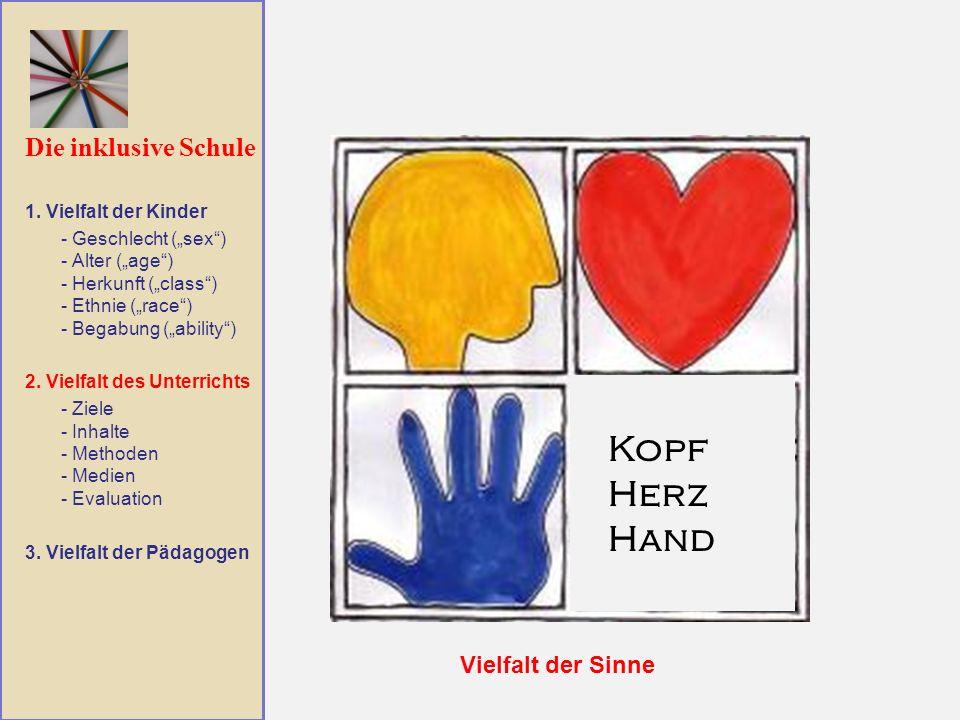Die inklusive Schule Vielfalt der Sinne 1. Vielfalt der Kinder - Geschlecht (sex) - Alter (age) - Herkunft (class) - Ethnie (race) - Begabung (ability