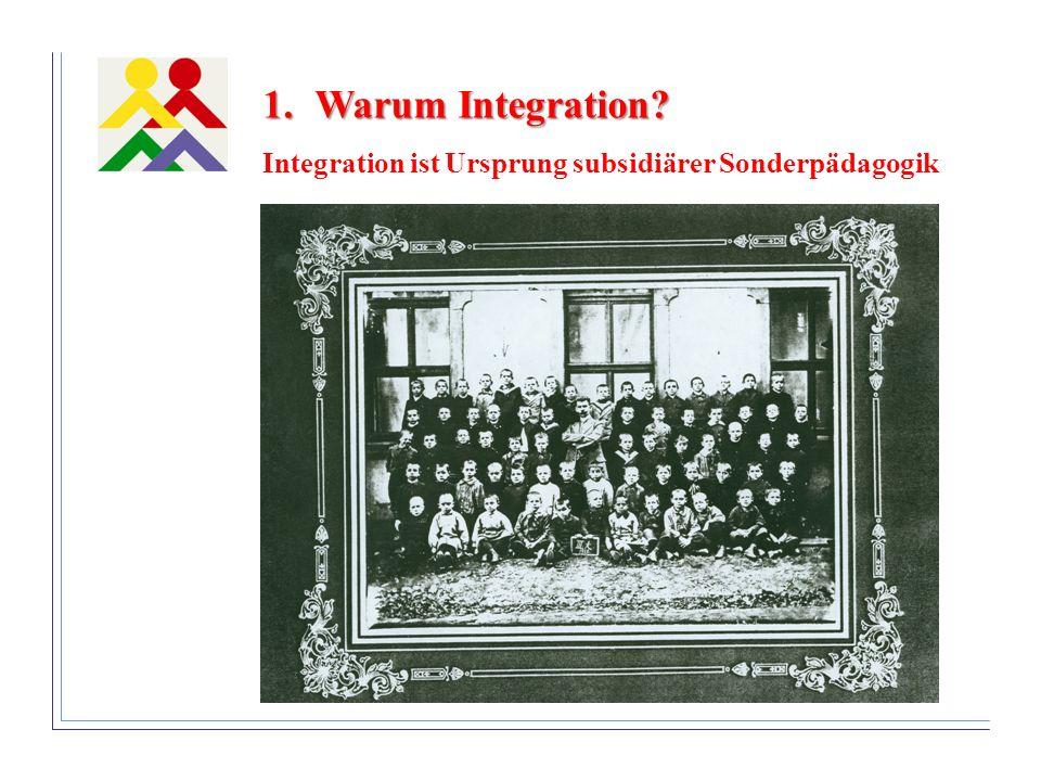 1.Warum Integration? Integration ist Ursprung subsidiärer Sonderpädagogik