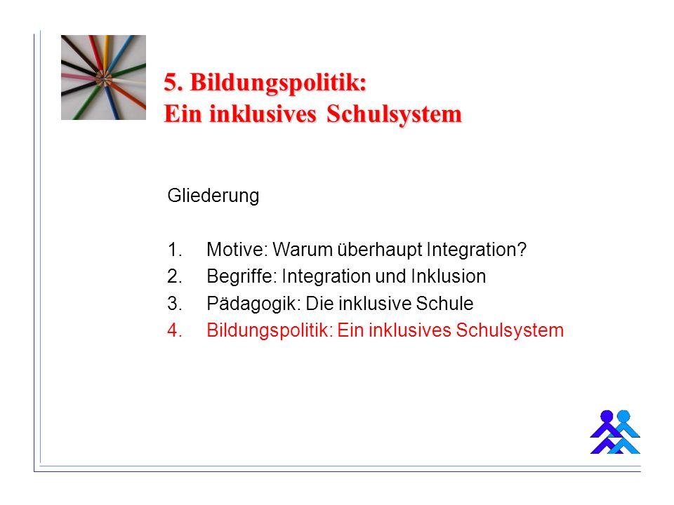 5. Bildungspolitik: Ein inklusives Schulsystem Gliederung 1.Motive: Warum überhaupt Integration? 2.Begriffe: Integration und Inklusion 3.Pädagogik: Di