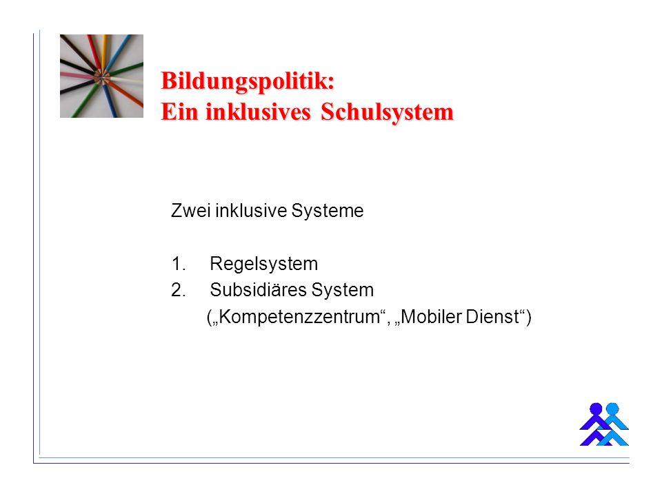 Bildungspolitik: Ein inklusives Schulsystem Zwei inklusive Systeme 1.Regelsystem 2.Subsidiäres System (Kompetenzzentrum, Mobiler Dienst)