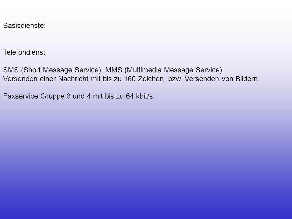 Telefondienst SMS (Short Message Service), MMS (Multimedia Message Service) Versenden einer Nachricht mit bis zu 160 Zeichen, bzw. Versenden von Bilde