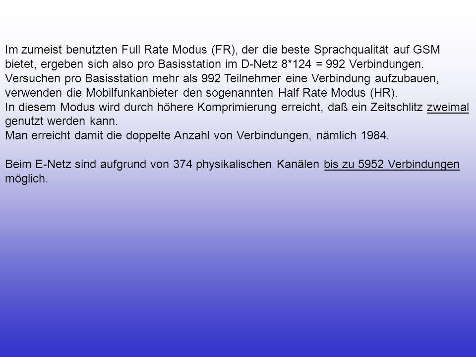 Im zumeist benutzten Full Rate Modus (FR), der die beste Sprachqualität auf GSM bietet, ergeben sich also pro Basisstation im D-Netz 8*124 = 992 Verbi