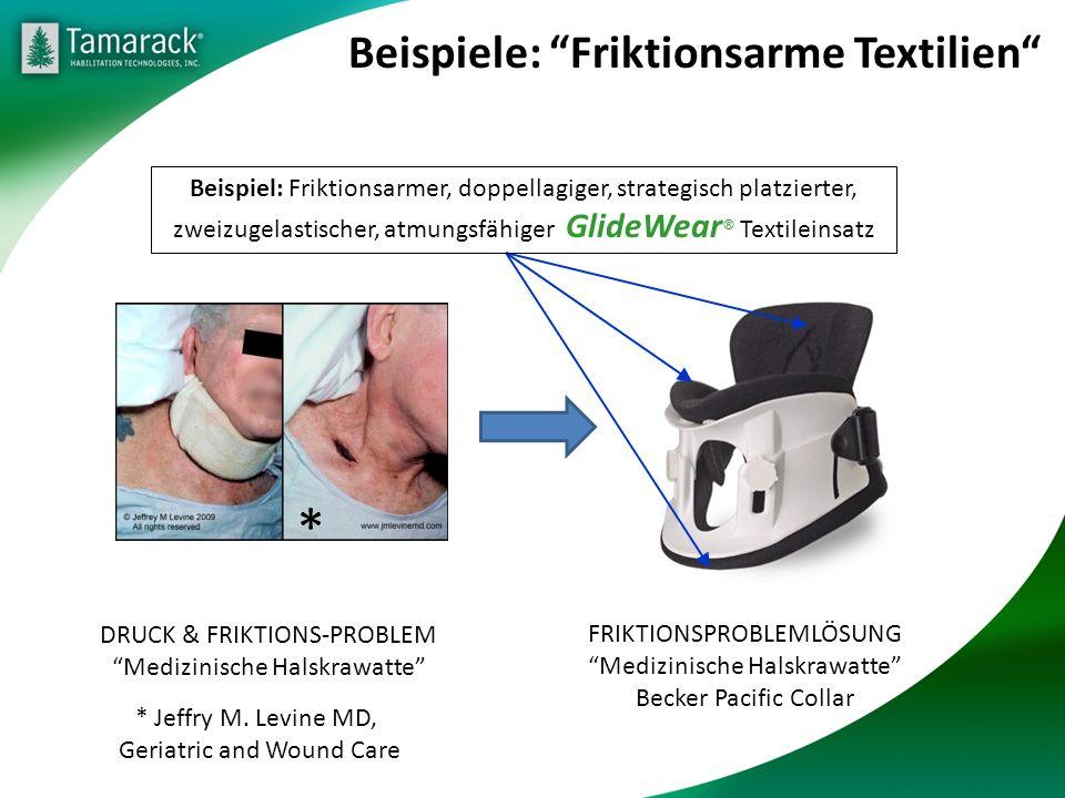 Beispiele: Friktionsarme Textilien DRUCK & FRIKTIONS-PROBLEM Medizinische Halskrawatte * Jeffry M. Levine MD, Geriatric and Wound Care * FRIKTIONSPROB