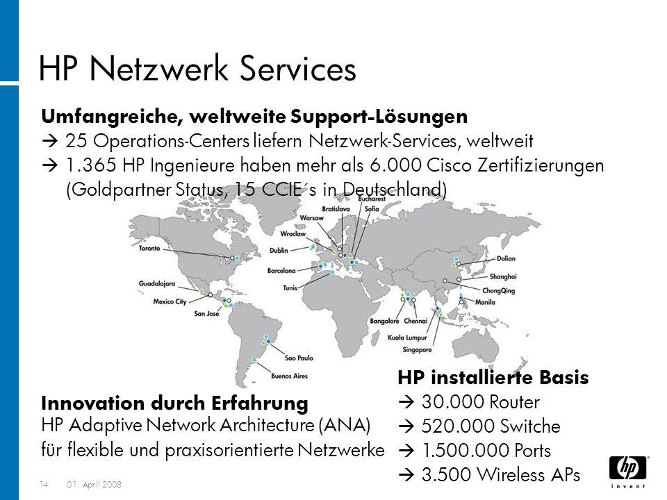 1401. April 2008 Umfangreiche, weltweite Support-Lösungen 25 Operations-Centers liefern Netzwerk-Services, weltweit 1.365 HP Ingenieure haben mehr als