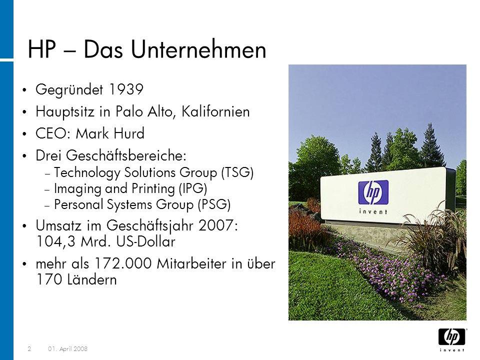 201. April 2008 HP – Das Unternehmen Gegründet 1939 Hauptsitz in Palo Alto, Kalifornien CEO: Mark Hurd Drei Geschäftsbereiche: Technology Solutions Gr