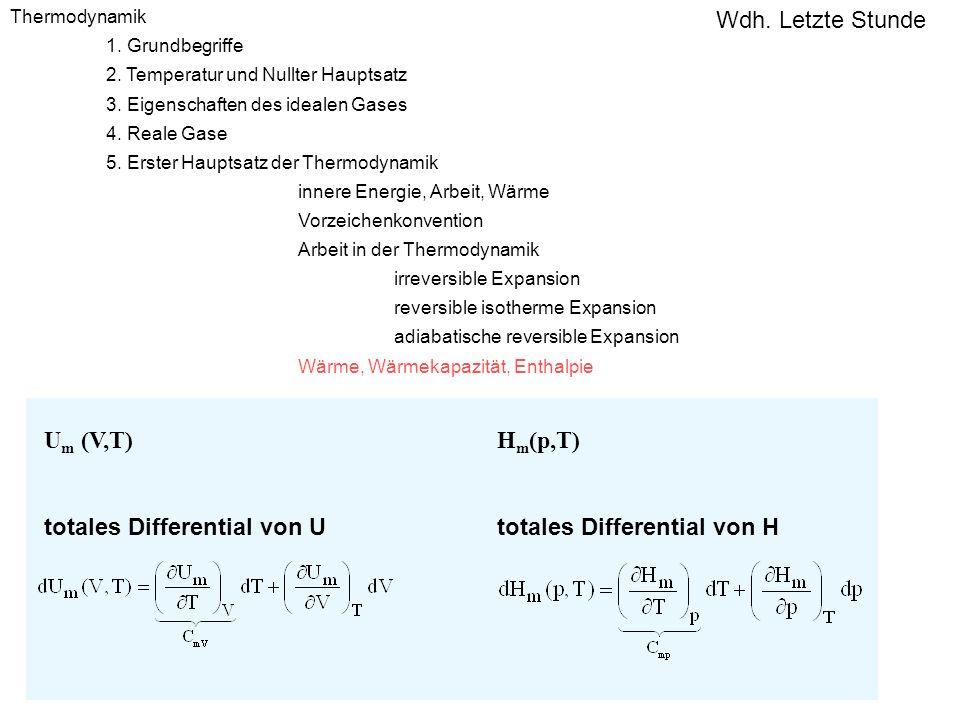 U m (V,T) totales Differential von U H m (p,T) totales Differential von H Thermodynamik 1. Grundbegriffe 2. Temperatur und Nullter Hauptsatz 3. Eigens