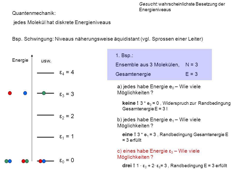 Energie ε 0 = 0 ε 1 = 1 ε 2 = 2 ε 3 = 3 ε 4 = 4 usw. Quantenmechanik: jedes Molekül hat diskrete Energieniveaus Bsp. Schwingung: Niveaus näherungsweis