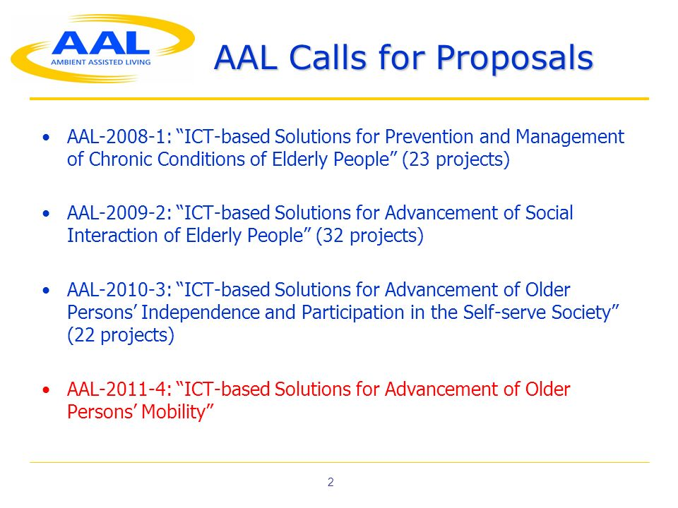 2 AAL Calls for Proposals AAL-2008-1: ICT-based Solutions for Prevention and Management of Chronic Conditions of Elderly People (23 projects) AAL-2009