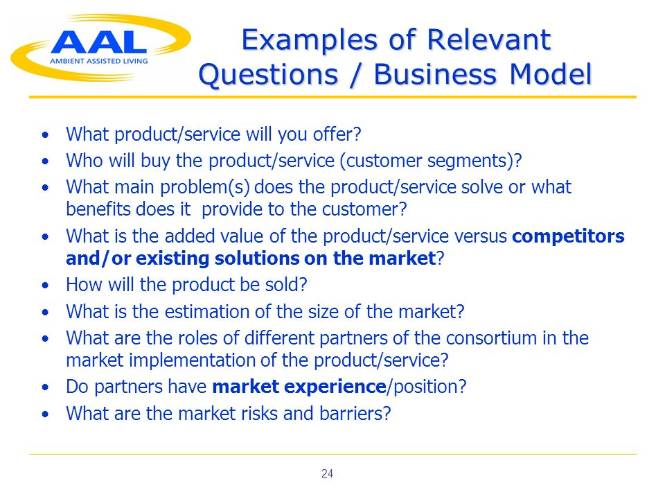 24 Examples of Relevant Questions / Business Model What product/service will you offer? Who will buy the product/service (customer segments)? What mai