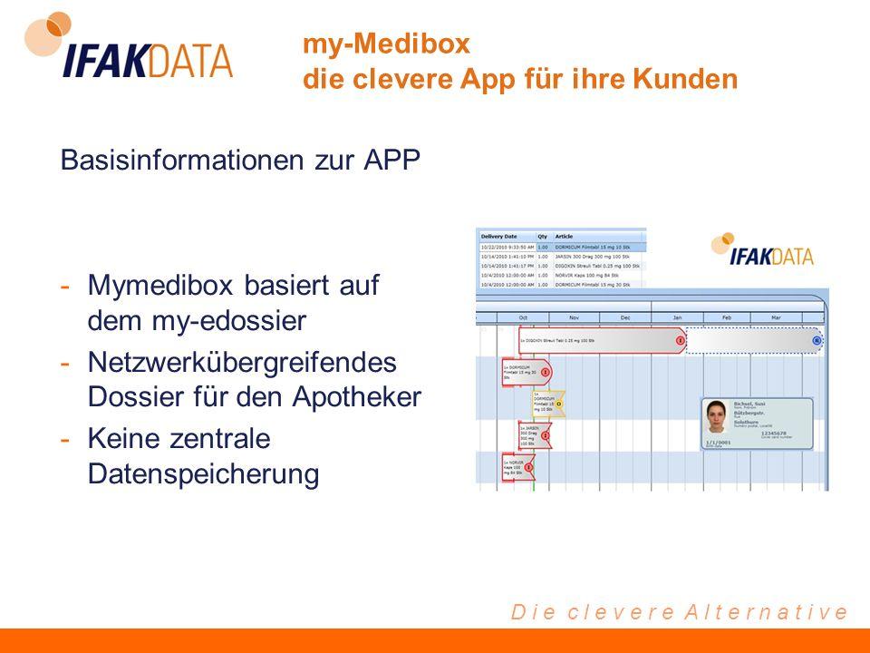 D i e c l e v e r e A l t e r n a t i v e Basisinformationen zur APP -Mymedibox basiert auf dem my-edossier -Netzwerkübergreifendes Dossier für den Apotheker -Keine zentrale Datenspeicherung my-Medibox die clevere App für ihre Kunden