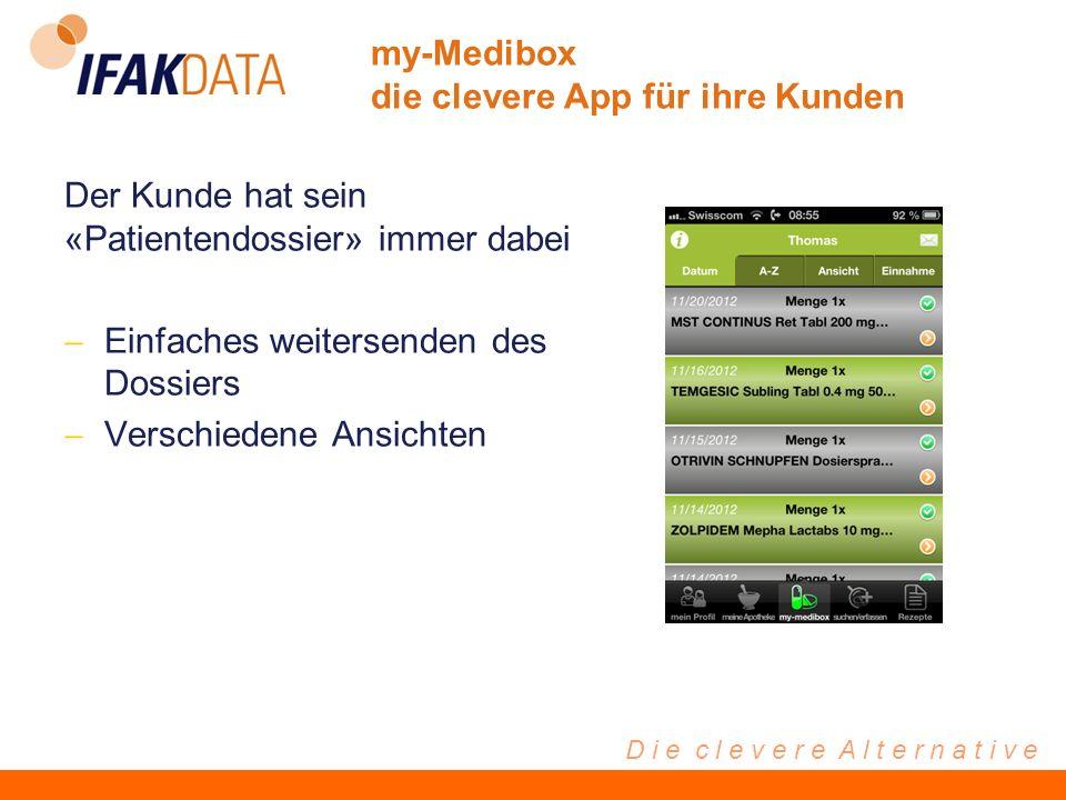 D i e c l e v e r e A l t e r n a t i v e Der Kunde hat sein «Patientendossier» immer dabei Einfaches weitersenden des Dossiers Verschiedene Ansichten my-Medibox die clevere App für ihre Kunden