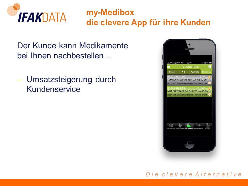 D i e c l e v e r e A l t e r n a t i v e Der Kunde kann Medikamente bei Ihnen nachbestellen… Umsatzsteigerung durch Kundenservice my-Medibox die clevere App für ihre Kunden