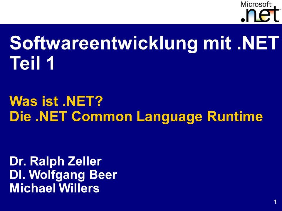 32 Compiler (C#, VB.NET, etc.) Typ A {…} Source Code Typ B {…} Typ C {…} Metadaten für die Typen A, B und C MSIL-Code für Typ A MSIL-Code für Typ B MSIL-Code für Typ C Modul (app1.vb) Manifest Assembly (app1.dll) Assemblies Übersetzen von Sourcen