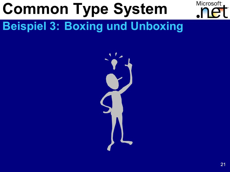 21 Common Type System Beispiel 3: Boxing und Unboxing