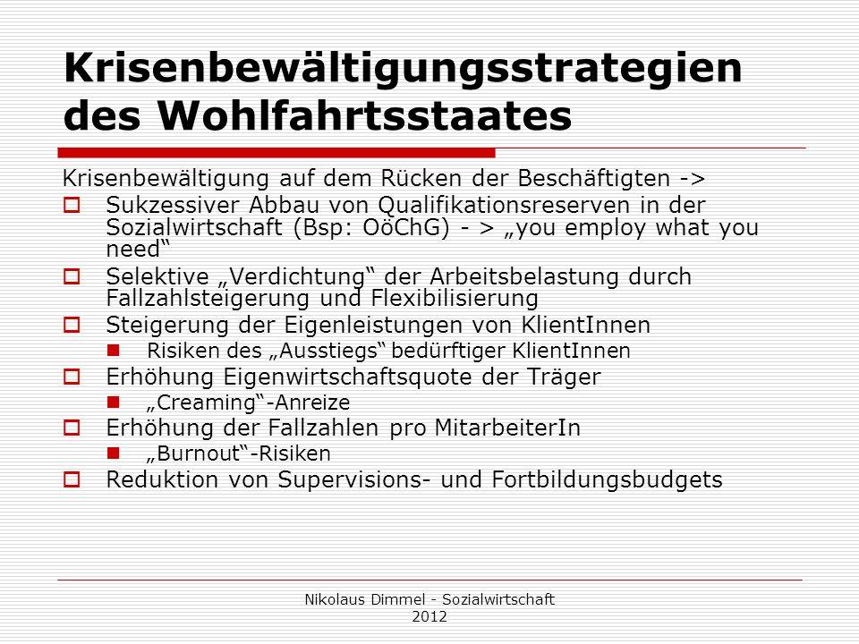 Krisenbewältigungsstrategien des Wohlfahrtsstaates Krisenbewältigung auf dem Rücken der Beschäftigten -> Sukzessiver Abbau von Qualifikationsreserven