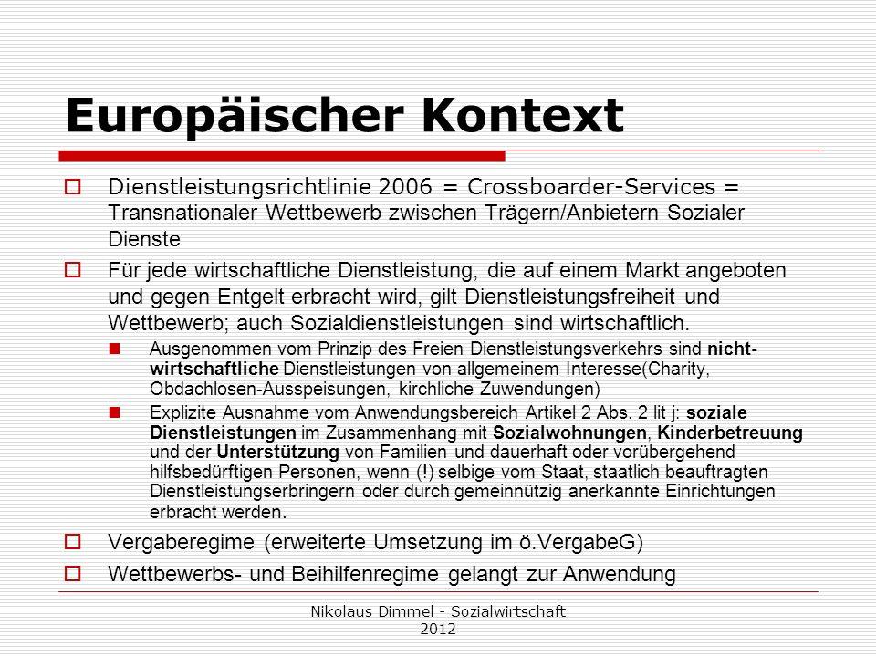 Europäischer Kontext Dienstleistungsrichtlinie 2006 = Crossboarder-Services = Transnationaler Wettbewerb zwischen Trägern/Anbietern Sozialer Dienste F