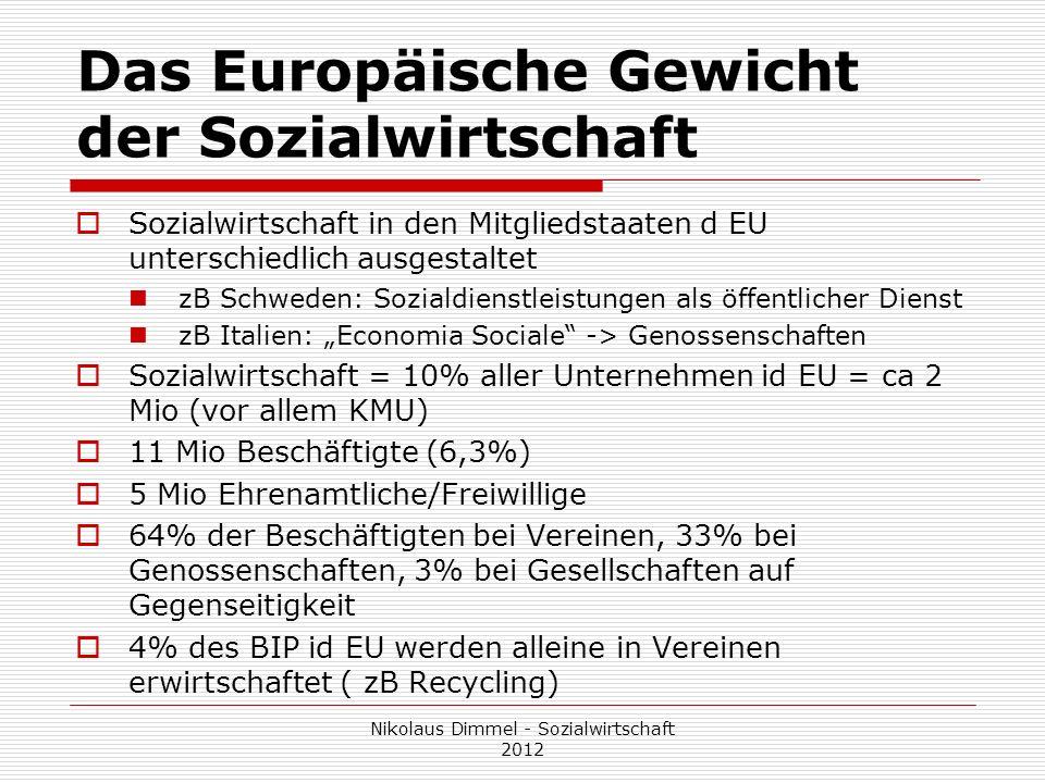 Das Europäische Gewicht der Sozialwirtschaft Sozialwirtschaft in den Mitgliedstaaten d EU unterschiedlich ausgestaltet zB Schweden: Sozialdienstleistu