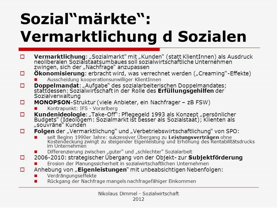 Sozialmärkte: Vermarktlichung d Sozialen Vermarktlichung: Sozialmarkt mit Kunden (statt KlientInnen) als Ausdruck neoliberalen Sozialstaatsumbaues sol