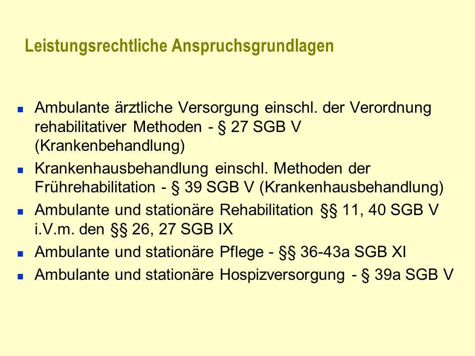 Leistungsrechtliche Anspruchsgrundlagen Ambulante ärztliche Versorgung einschl. der Verordnung rehabilitativer Methoden - § 27 SGB V (Krankenbehandlun
