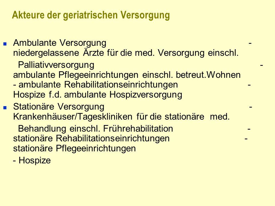 Akteure der geriatrischen Versorgung Ambulante Versorgung - niedergelassene Ärzte für die med. Versorgung einschl. Palliativversorgung - ambulante Pfl