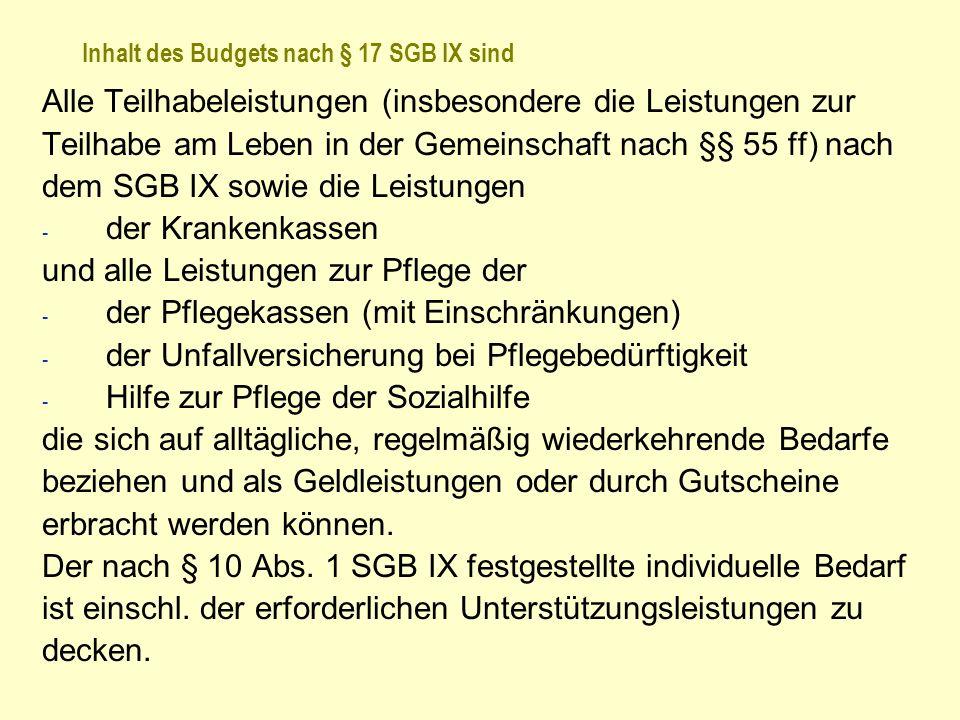 Inhalt des Budgets nach § 17 SGB IX sind Alle Teilhabeleistungen (insbesondere die Leistungen zur Teilhabe am Leben in der Gemeinschaft nach §§ 55 ff)