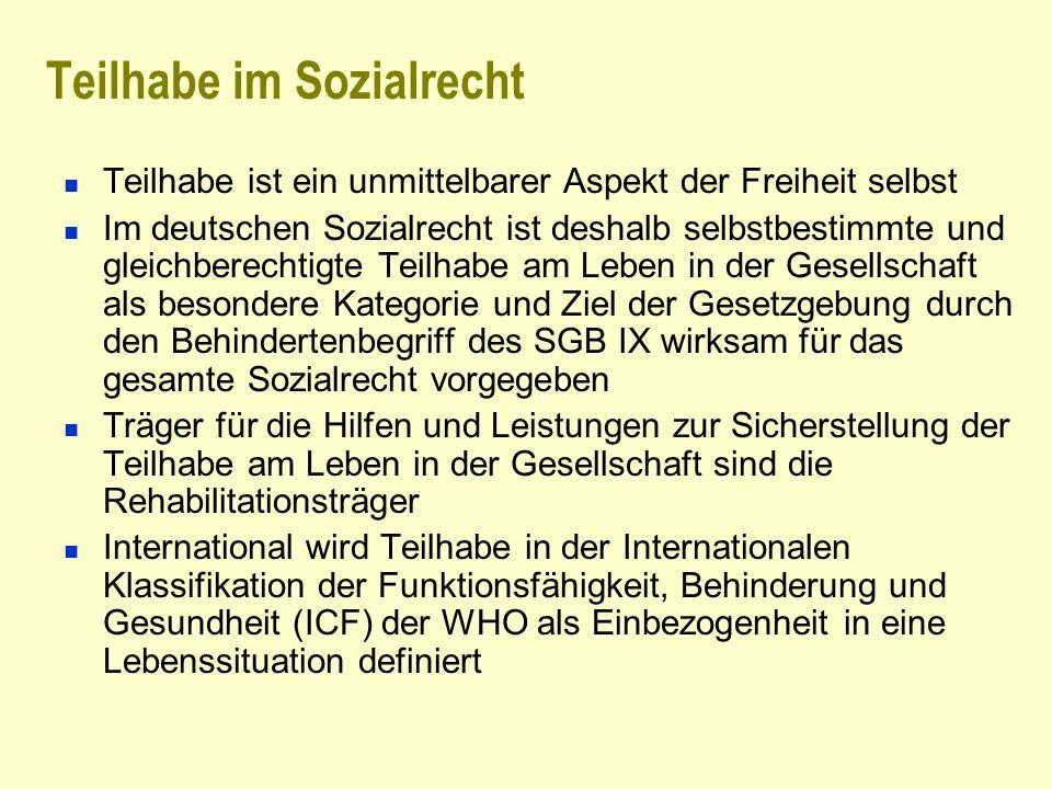 Teilhabe im Sozialrecht Teilhabe ist ein unmittelbarer Aspekt der Freiheit selbst Im deutschen Sozialrecht ist deshalb selbstbestimmte und gleichberec
