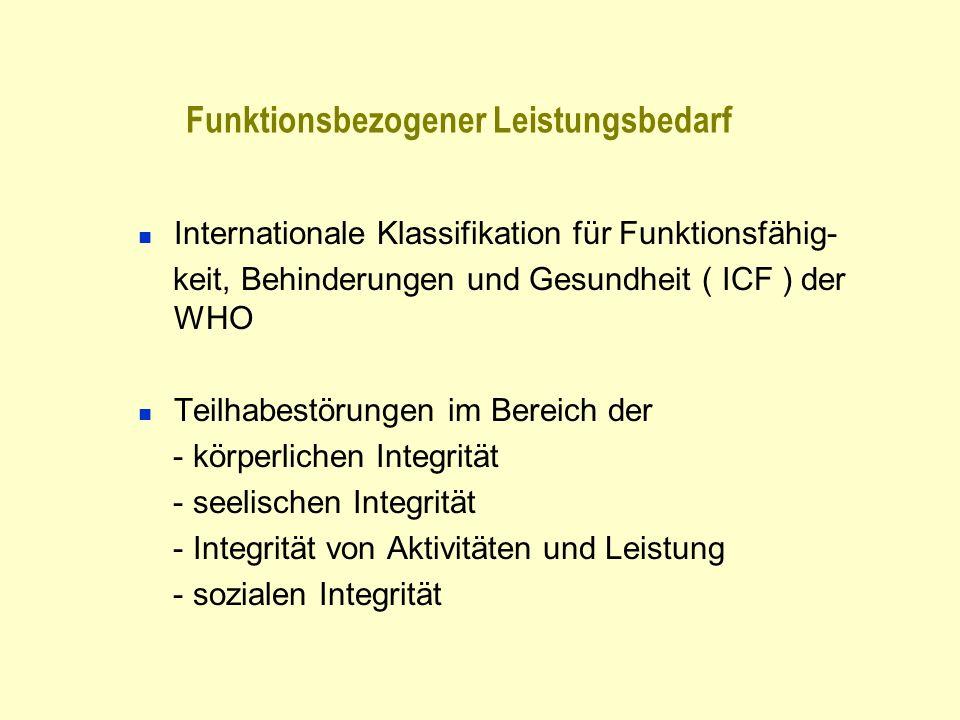 Funktionsbezogener Leistungsbedarf Internationale Klassifikation für Funktionsfähig- keit, Behinderungen und Gesundheit ( ICF ) der WHO Teilhabestörun