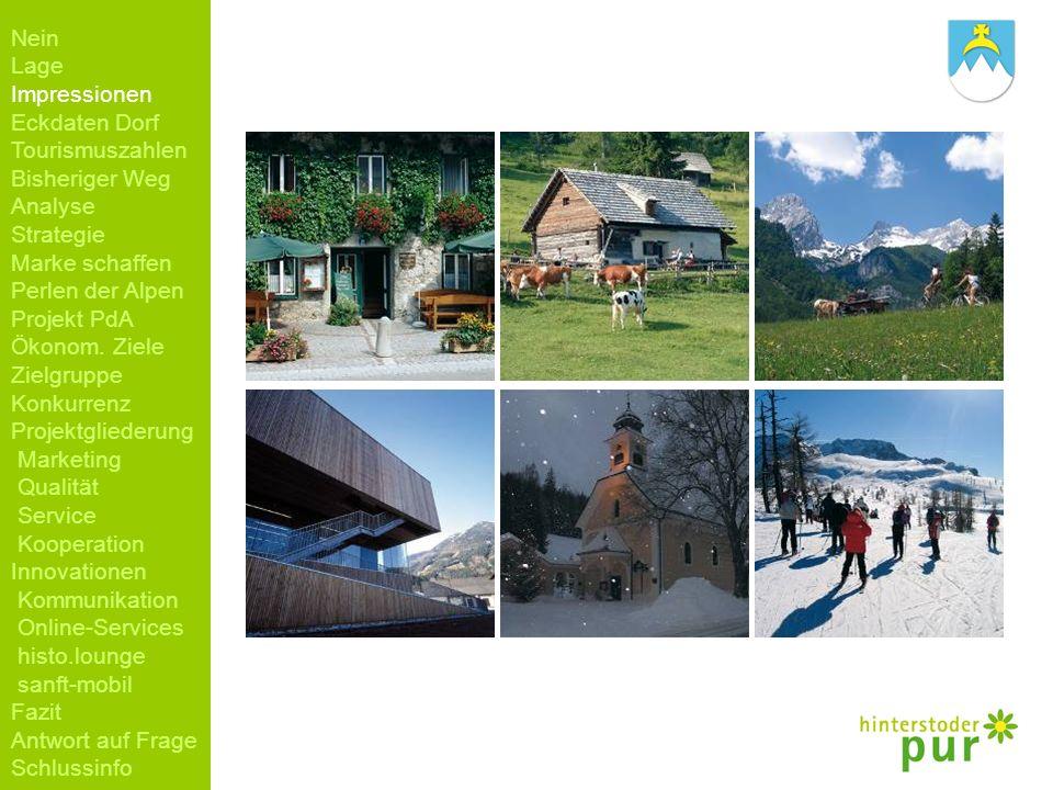 Nein Lage Impressionen Eckdaten Dorf Tourismuszahlen Bisheriger Weg Analyse Strategie Marke schaffen Perlen der Alpen Projekt PdA Ökonom. Ziele Zielgr