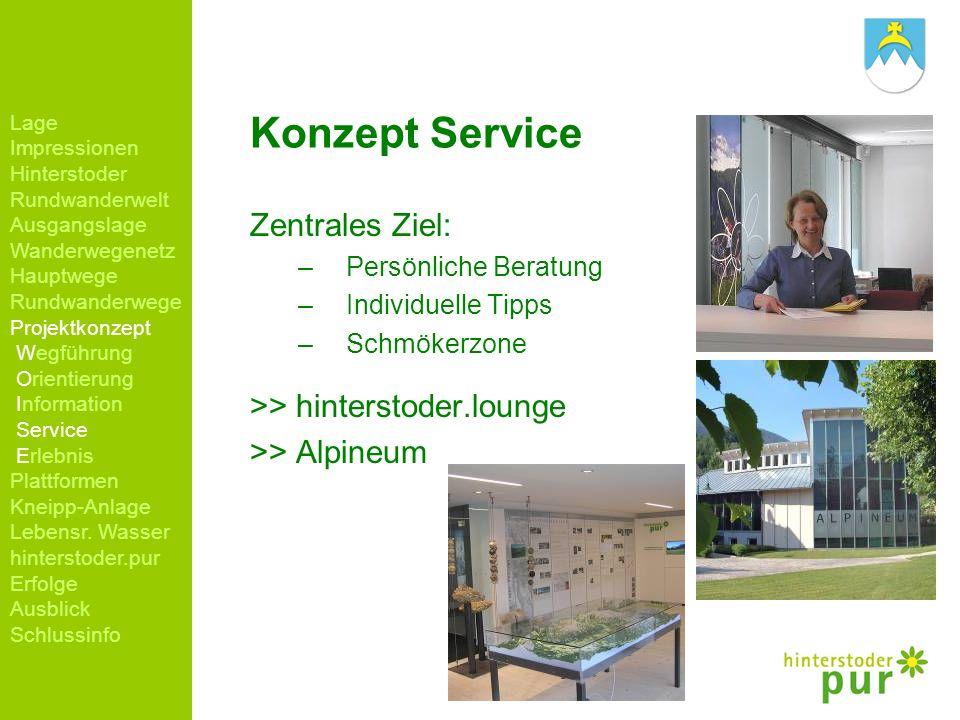 Konzept Service Zentrales Ziel: –Persönliche Beratung –Individuelle Tipps –Schmökerzone >> hinterstoder.lounge >> Alpineum Lage Impressionen Hintersto